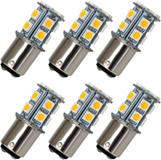 GRV Ba15d 1076 1142 High Bright Car LED Bulb 13-5050SMD DC 12V Warm White Pack of 6