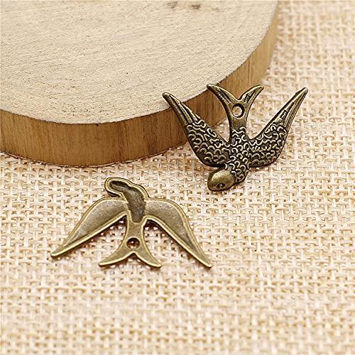WANM Colgante 10Pcs 25X17Mm Bird Charms DIY Craft Hecho A Mano para La Fabricación De Joyas