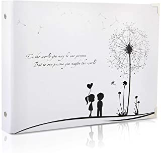 Scrapbook Photo Album Wedding Guest Book DIY Memories Book with 50 Black Pages Present for Valentines Mothers Anniversary ...