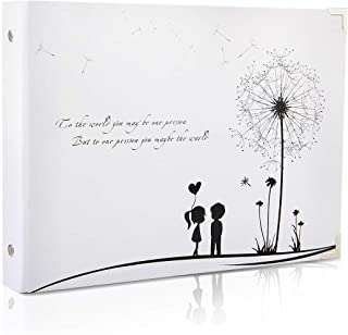 THXMADAM Scrapbook Photo Album Wedding Guest Book DIY Memories Book with 50 Black Pages Present for Valentines Mothers Anniversary Day Birthday Christmas for Wife Daughter Girlfriend,White Dandelion B