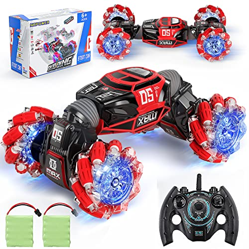 NBPOWER RC Car, Off Road Rc Car 1:16 Scale Remote Control Crawler, 4WD Transform 20 Km/h RC Stunt Cars with 2 Rechargeable Batteries RC Drift Car for Boys and Teens.