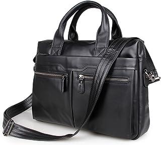 "Men's Accessories Portable Vintage Leather Briefcase 14"" Laptop Shoulder Messenger Satchel Bag Organizer Black for Business Outdoor Recreation"