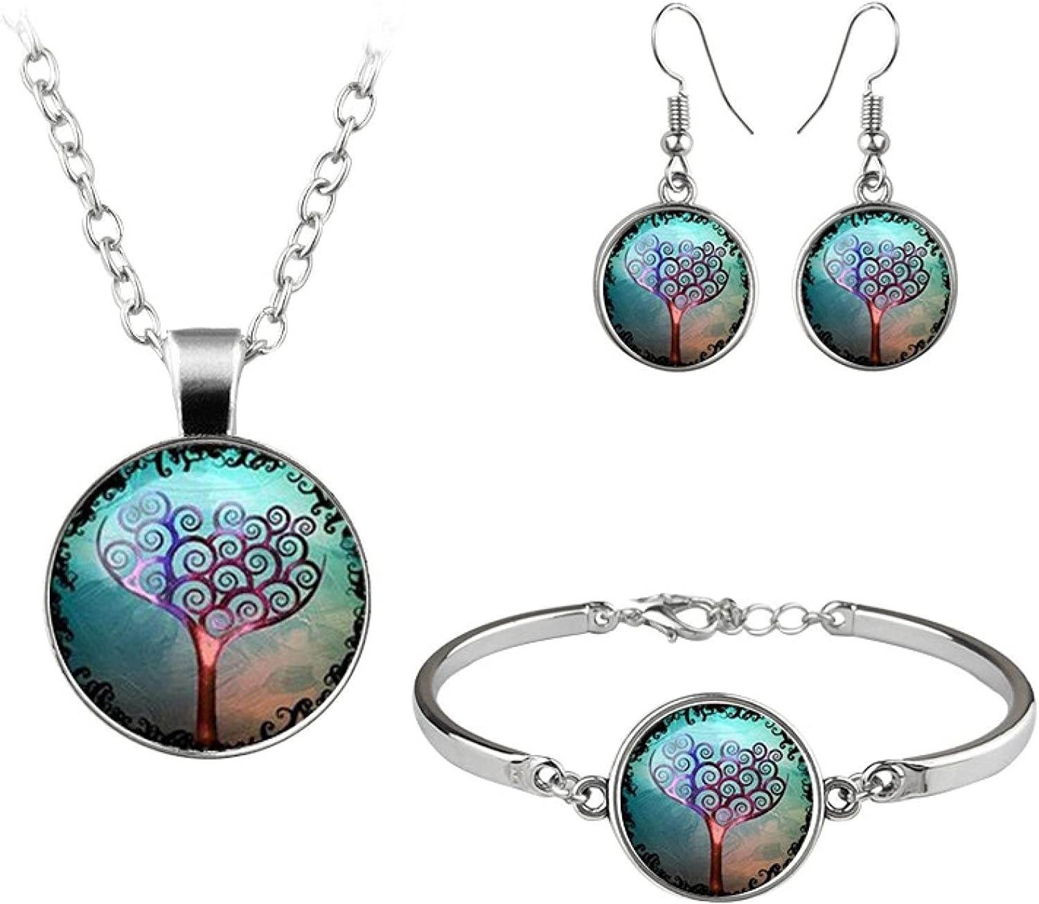Classic Jewelry Set Cute Trees Drawing Glass Dome Necklace Bracelet Earrings For Women Girls Gift