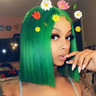 Quick Wig Short Straight Bob Wig Green Wigs Middle Part Heat Resistant Synthetic Daily Cosplay Party Hair Wigs for Women