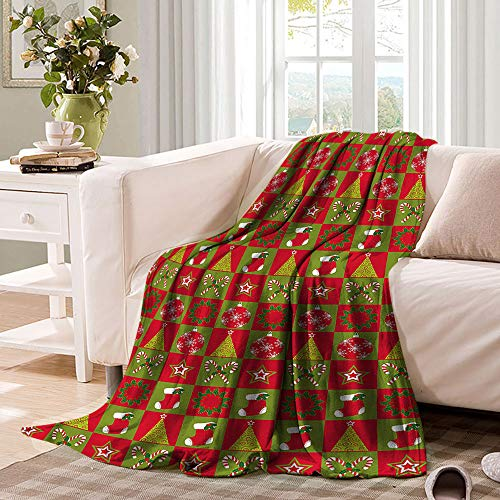 Christmas Soft Blanket Xmas Eve Ornaments Premium Quality Heavy Weight Suitable for Fall Winter and Spring 60'x50'