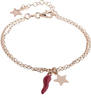 11b14768ed84aa inSCINTILLE Corni Bracciale in Argento Rosa con Charms Stella e Corno Rosso