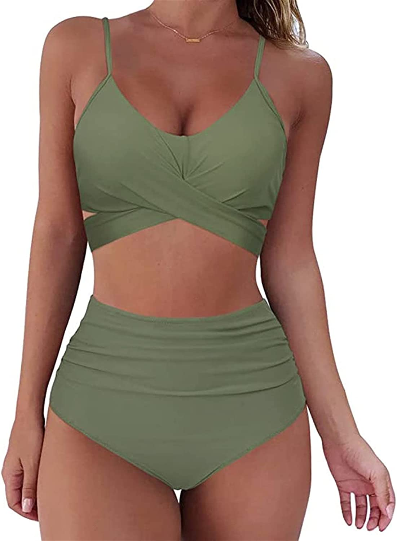 Alibama Solid Color Women Padded Bra Detroit Mall Bikini Push-up Deluxe Tankini Set