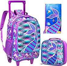 3PCS Rolling Backpack for Girls, Wheeled Mermaid Bookbag with Lunch Box Pencil Box