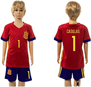 2016 2017 For Fans Spain 1 Iker Casillas Home For Children Kid Youth Football Soccer Jersey Sets In Red