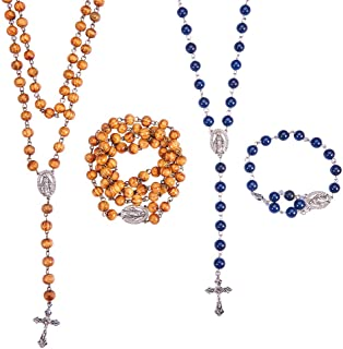 SUNNYCLUE DIY 2 Sets Rosary Making Kit Catholic Rosary Necklace Kit - 2 Strands Wooden Gemstone Jade Beaded Chains, Oval Link, Crucifix Cross, Jump Rings, Lobster Claw Clasps, Instruction