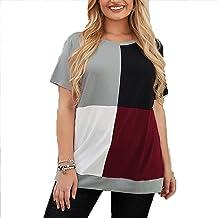 XYJD Lente en Zomer vrouwen Casual Pullover Ronde hals Kleurblok Stikken Losse Grote Maat Korte Mouwen T-Shirt Top Vrouwen