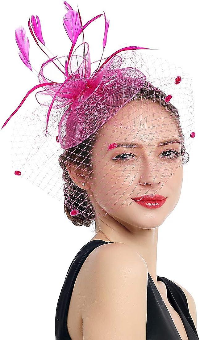 Women Fascinators Kentucky Derby Hair Clip Headband Wedding Tea Party Hat Mesh Feathers Hairband