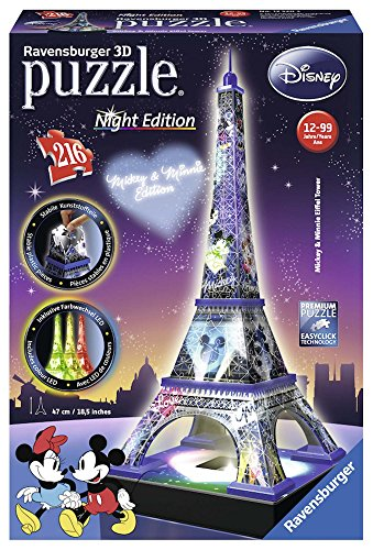 Ravensburger Italy Disney Classics Tour Eiffel Puzzel, 3D Building, Night Edition, 12520 Traditioneel 100