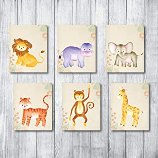 Safari Nursery Decor Jungle Baby Animals Prints for Nursery Decor Art - Large Giant Collection - 6 UN-FRAMED Neutral Kids Stuff Animal Theme Wall Prints. Elephant Giraffes boy Lion buddies (8x10)