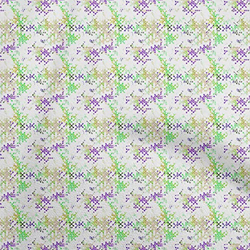 oneOone Georgette Viscose Green Fabric Abstracts Sewing Craft Projects Fabric Prints by Yard 42 Inch Wide-D4