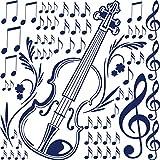 GRAZDesign Wandaufkleber für Musikraum/Wohnzimmer - Wanddekoration Geige - Wandtattoo Set mit Noten / 57x57cm / 770069_57_049