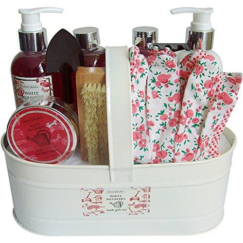 Coffret cadeau beauté pour femme - Pot de bain métallique blanc - Collection Body Luxurious - Mûre
