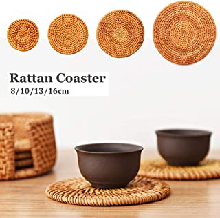 CHXIHome Rattan Weave Cup Mat, Rattan Coaster Kitchen Table Placemat Bowl Mat Durable Hand Woven Insulation Coffee Cup Coa...