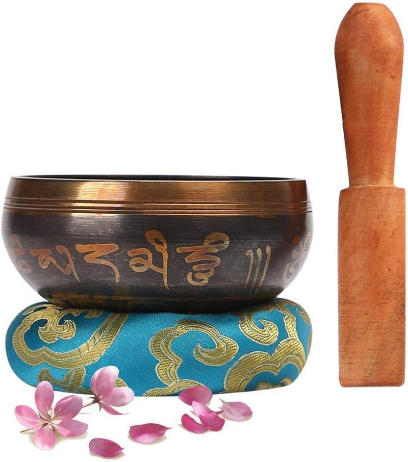 Waroomss - Juego de Campanas tibetanas para Canto, Cuenco Sano, de meditación curativa con mazo y cojín, Hecho a Mano para la curación y la Conciencia del Yoga