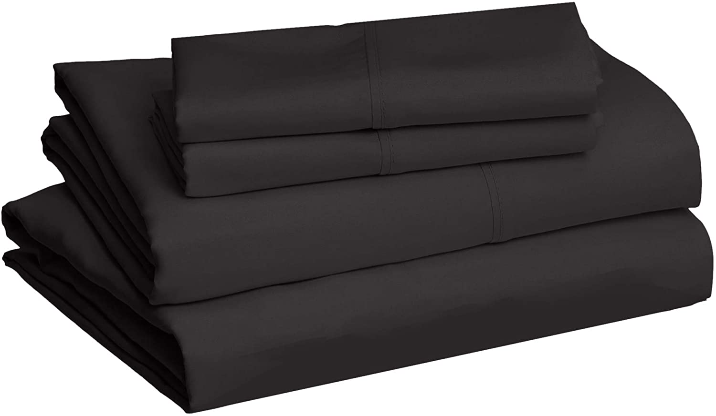 Amazon Basics Lightweight Super Soft Easy Care Microfiber Black Bed Sheet Set