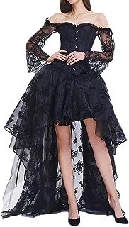 EMILYLE Mujeres Deshuesado Corsé Gótico Halloween Vestido