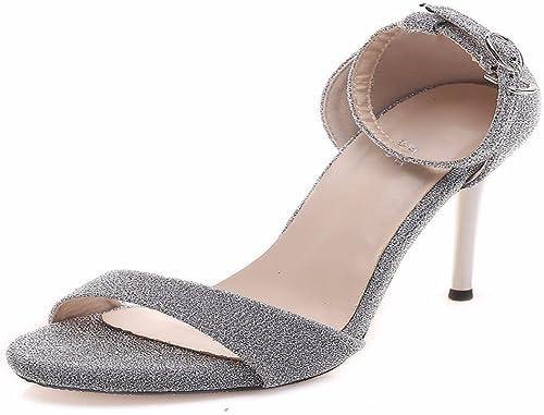 HBDLH Chaussures pour femmes 10 Hauts Talons avec avec argent Sexy Sexy Bout Ouvert Bouclée Sandales en été.  réductions et plus