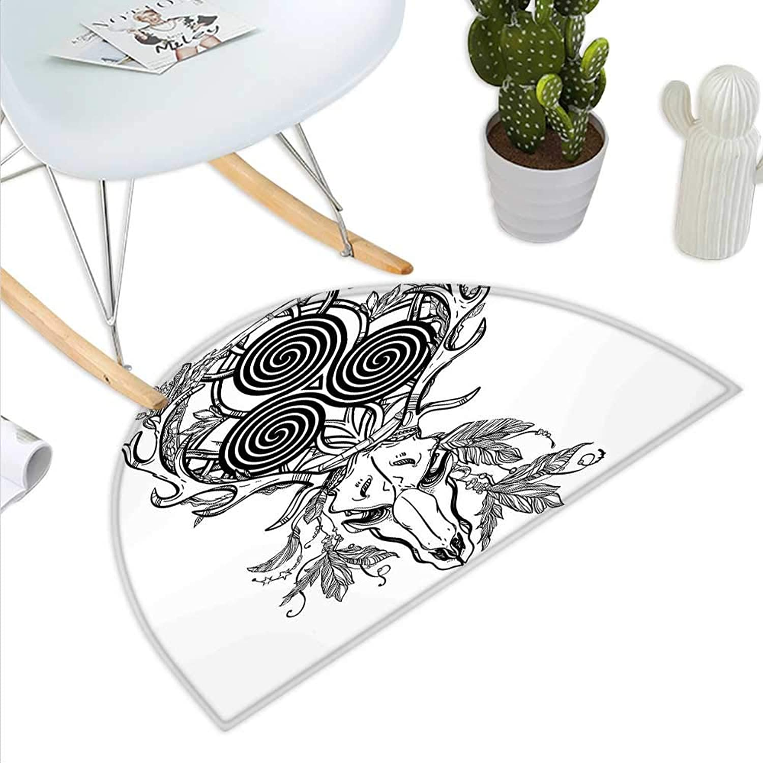 Celtic Semicircle Doormat Deer Skull with Native American Ethnic Feather and Celtic Spiral on The Horns Boho Halfmoon doormats H 39.3  xD 59  Black White