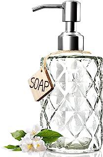 JASAI Diamond Design 12 Oz Glass Soap Dispenser, Kitchen Soap Dispenser with 304 Rust Proof Stainless Steel Pump, Bathroom...
