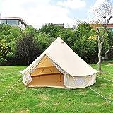 akonasda India yurt Light Khaki Cotton Canvas Bell Tent with Stove Jacket on The Wall, Cotton Canvas Tent Bell Tent Family Tent 3M Dia