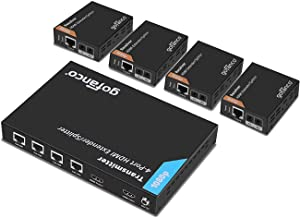gofanco Prophecy 1x4 HDMI Extender Splitter 1080p Over Cat5e/Cat6/Cat7 Ethernet Cable with HDMI Loopout - Up to 50m/165ft - EDID Management, Bi-Directional IR Remote Control (1 in 4 Out / 4-Port)