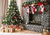 Leowefowa 7X5FT Vinyl Photography Backdrop Christmas Decoration Tree Fireplace Stocking Gift Carpet Curtain