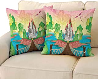 QIAOQIAOLO Pack of 2 Personalized Pillowcase Children Double-Sided Printing 18x18 inch Princess Castle Above Wooden Bridge and Phoenix Bird Fairy Dream World Girls Image Multicolor