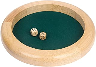 GAMELAND 10 Inch Wooden Dice Tray RPG Gaming Dice Tray with 2 Wooden Dice and Felt Lined Rolling Surface Dice Tray Set for Dice Rolling Games