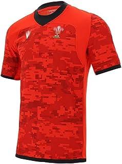 2021年ウェールズラグビージャージートレーニングシャツ男性用女性キッズユースサマー半袖ラグビージャージー誕生日プレゼント用ロゴ付き、赤、