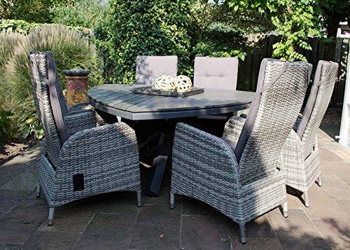 lifestyle4living Dreieckiger Gartentisch in Grau mit Dreibein aus Alu und Steinoptik-Tischplatte sorgt für gemütliche Abende im Freien