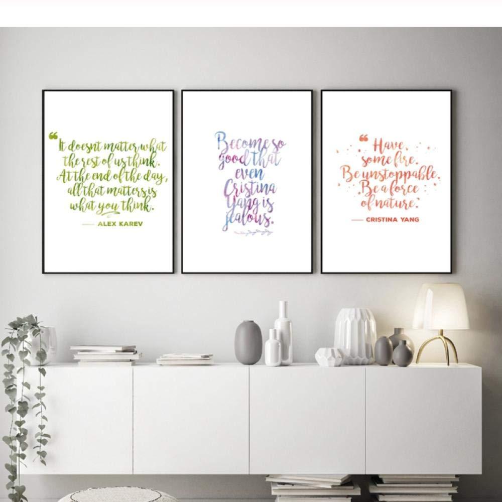 LLXHG Anatomía De Grey Citas Inspiradoras Impresiones Decoración De La Pared del Dormitorio Cita Positiva Tipografía Arte De La Pared Pintura De La Lona Decoración del Dormitorio-50X70Cmx3 Sin Marco: Amazon.es: Hogar