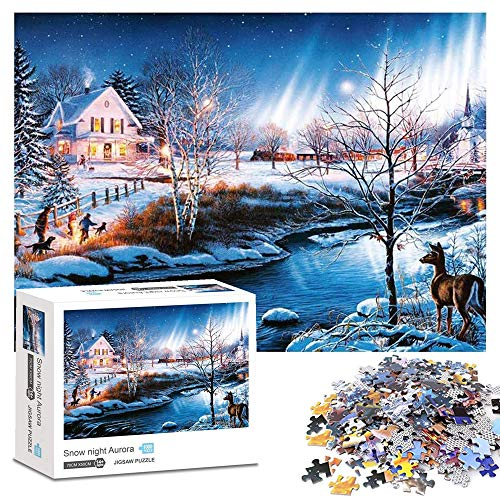 Puzzle 1000 Teile, Schneenacht Aurora Puzzle 1000 Teile Erwachsene, Klassische Puzzle 1000 Stück, Impossible Puzzle,Geschicklichkeitsspiel für die ganze Familie, Erwachsenenpuzzle ab 12 Jahren