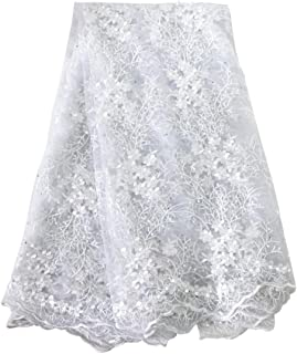 Aisunne 5 Yards African Lace Fabrics Classics Nigerian French Lace Fabric with Fashion Rhinestones and Embroidered Beading Flower for Wedding Party Dresses (White)