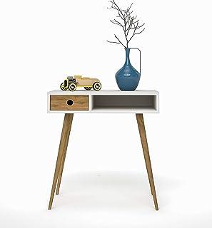 HOGAR24 ES Mueble recibidor Consola Estilo Vintage con cajón. Color Blanco y Madera Natural.