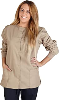 Natural Uniforms Women's Warm Up Jacket Medical Scrub Jacket (XS to 5XL) (Large, Khaki)