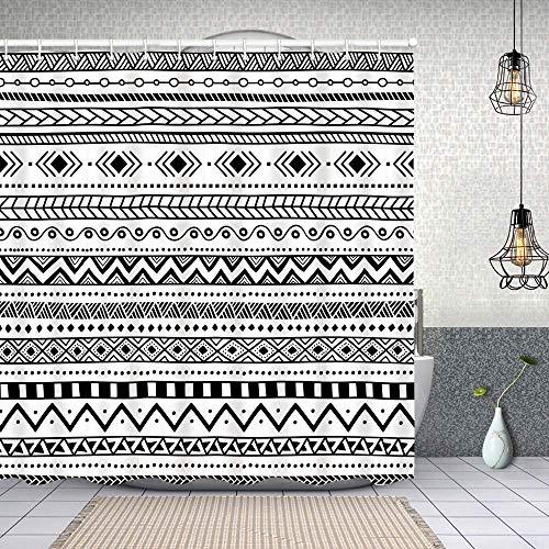 Cortina de Baño con 12 Ganchos,Patrón étnico Africano Motivos Tribales Aztecas con Rayas Blancas y Negras Doodle Perú,Cortina Ducha Tela Resistente al Agua para baño,bañera 150X180cm