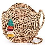 LONGBLE Bolso redondo de paja con borlas colgante, bolso de mano con asa y correa, bolso de paja hecho a mano, bolso bohemio de paja trenzado para mujeres y niñas