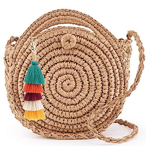 Longle - Bolso de paja redondo con borlas, colgante de bolso con asa y correa, bolso de paja hecho a mano, bolso de mano, bolso bohemio de paja trenzada para mujer y niña