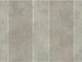 York Wallcoverings GF0798 Gold Leaf Aida Stripe Wallpaper, Metallic Silver, Metallic Pewter, Cream