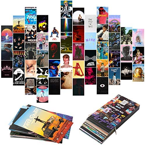 YINGENIVA 50PCS Album Cover Aesthetic Pictures Wall Collage Kit Album Style Photo Collection product image