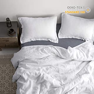 Simple&Opulence 100% Linen Pure Solid Color Embroidery Border Queen King Duvet Cover Set(Multi-Colored Options) (Queen, White)