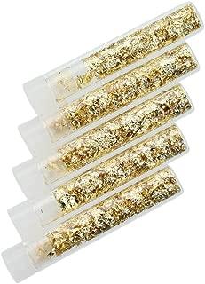 Gold Metal Leaf in Vial 5-Piece Set | Dutch Metal Imitation Gold Leaf Flake Tubes