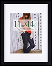 RPJC 11 x 14 Picture Frames Made of Solid Wood and High Definition Glass Display Pictures 8x10 with Mat or 11x14 Without Mat for Wall Mounting Photo Frame Black
