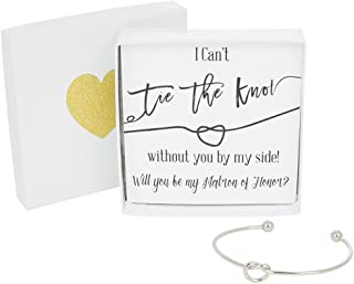 Bridesmaid Gifts - Tie The Knot Matron of Honor Bracelet w/Gift Box, Maid of Honor Gift, Love Knot Jewelry, Bridal Party Gift Sets (Gold, Rose Gold, Silver)