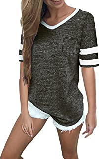 Patchwork T-Shirt for Womens Summer Casual Print Color Block Splice Short Sleeve Tunic Blouse Top